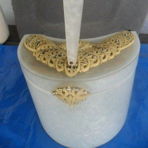 Vintage lucite Box Purse Seed Pearls Lid Clasp BAG
